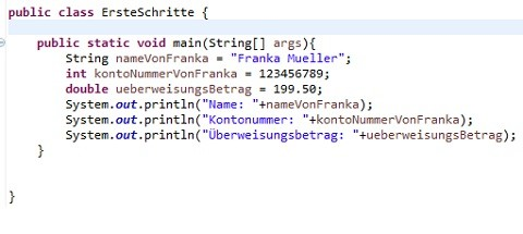 Artikel über das Konzept Variablen in Java